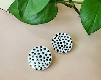 White Glass Circle Earrings with Black Polka Dots  - Hand-Painted Dalmatian Print - Geometric Studs - Handmade Glass Jewelry