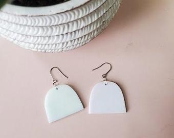 Iridescent White Arch Dangle Glass Earrings - Handmade Portal Jewelry