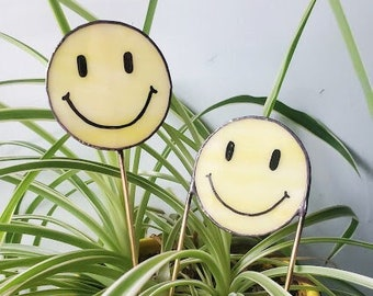 Smiley Face Plant Stake - Stained Glass Planter Accessory - Made to Order