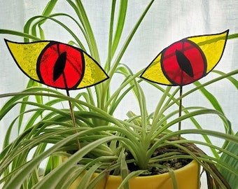 Creepy, Evil Monster Eye Planter Stake Set - Handmade Stained Glass Plant Accessory - Ready to Ship!