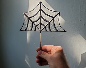 Spider Web Plant Stake - Handmade Stained Glass Planter Accessory  - Ready to Ship!