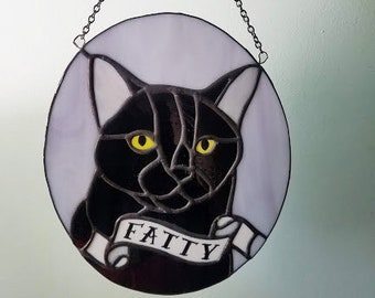 Custom Pet Portrait - Deluxe Handmade, One of a Kind Stained Glass Sun Catcher - Your Pet in Glass - Pet Memorial - HOLIDAY DEADLINE NOV 11