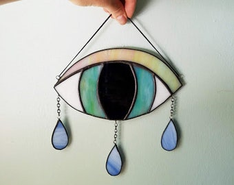 Crying Eye Suncatcher - Stained Glass Mobile - Made to Order