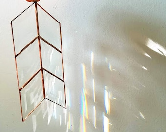Rainbow Maker! Beveled Arrow Sun Catcher - Handmade Stained Glass Prism - Made to Order