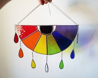 Etsy Pick! Stained Glass Rainbow Maker - Watchful Eye Sun Catcher - Handmade Mobile - Made to Order