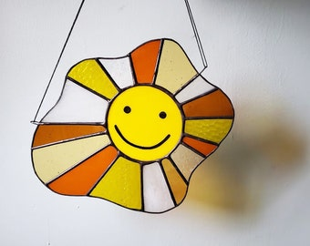 Sunny Side Up Sun Catcher  - Handmade Smiley Face Stained Glass Decor - Made to Order