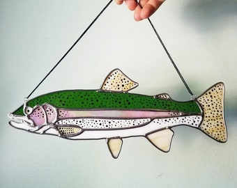 Stained Glass Trout - Handmade Sun Catcher - Rainbow Trout, Brook Trout, or Brown Trout