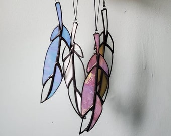 Handmade Stained Glass Art Made to Order Iridescent Purple Palmistry Hand Sun Catcher or Blush Pink Clear