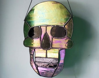 Large Iridescent Green Skull Stained Glass Sun Catcher - Stained Glass Art - Ready to Ship!