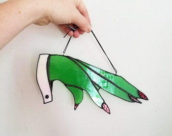 Witch Hand Sun Catcher -Handmade  Stained Glass Art - Made to Order