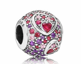 1336a0e65 Pandora, Bracelet Charms, / Asymmetric Hearts Of Love Charm Red Pink Cz /  New / s925 Sterling Silver / Fully Stamped.