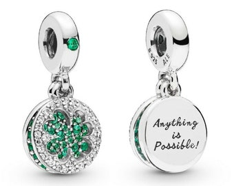 34487df2b Pandora, Bracelet Charm, Dangle / Dazzling Clover ANYTHING IS POSSIBLE Charm  / New / Threaded / s925 Sterling Silver / Fully Stamped