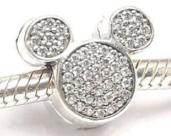 2e9344e5f Pandora, Disney, Bracelet Charms, Clip / MICKEY MOUSE EARS Cz Clip / New /  s925 Sterling Silver / Fully Stamped