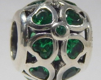 12cdb3f75 Pandora, Bracelet Charms, Bead / Green Lucky Clover Bead/Charm / New / s925  Sterling Silver / Fully Stamped