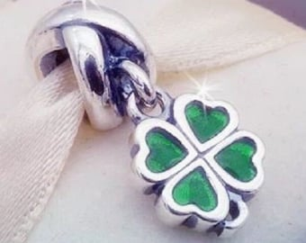 9deb1d799 Pandora, Bracelet Charms, Dangles / Green Cz FOUR-LEAF CLOVER / New /  Threaded / s925 Sterling Silver / Fully Stamped