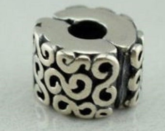 6bf3b9bc1 Pandora, Bracelet Charms, Clips / Swirl Clip Charm / New / s925 Sterling  Silver / Fully Stamped