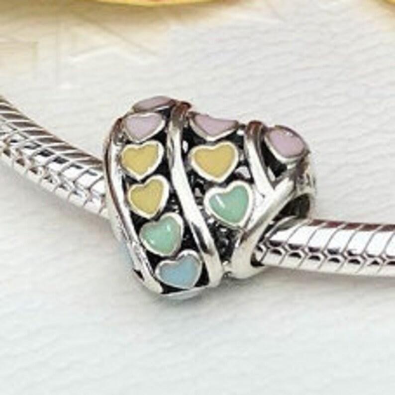 184a88f21 Pandora Bracelet Charms Multi-Color RAINBOW HEART CHARM / | Etsy