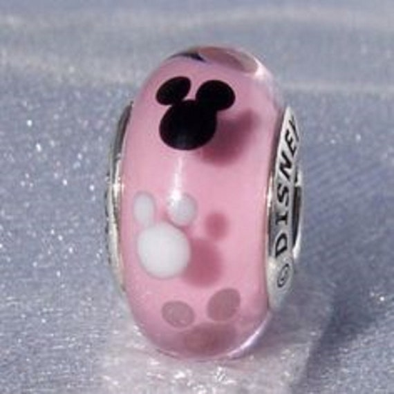 Pandora Disney Charms Mickey Mouse Mauve Color Murano