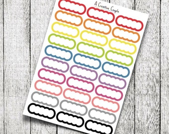 Scalloped Labels Bold Border with White Planner Stickers