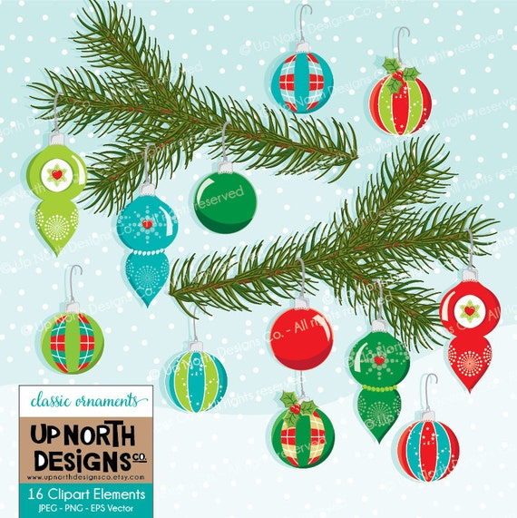 Etsy Christmas Ornaments.Classic Christmas Ornaments Clip Art Illustration Set Personal And Commercial Use