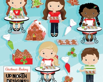 Baking Clipart Girls and boys baking Christmas cookies Illustration Cookie clipart Personal and Commercial Use Gingerbread house