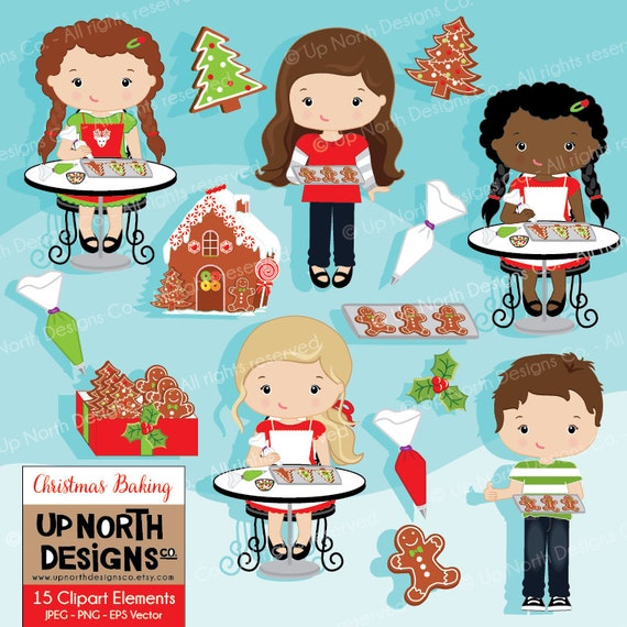 Baking Christmas Cookies Clipart.Baking Clipart Girls And Boys Baking Christmas Cookies Illustration Cookie Clipart Personal And Commercial Use Gingerbread House
