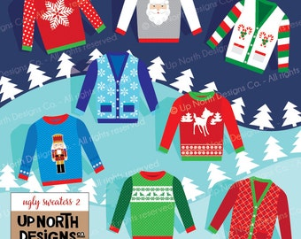 Ugly Sweater Clip Art Illustration Holiday Ugly Sweaters Personal and Commercial Use Holiday Sweaters Set 2