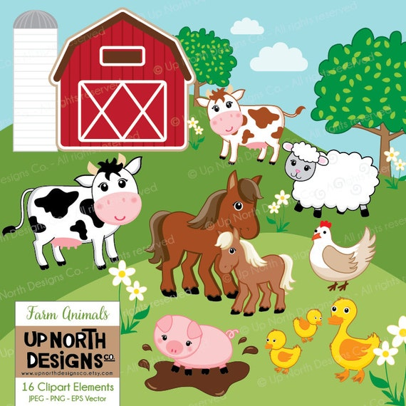 Farm Animals Clipart Cow Horse Duck Sheep Pig ...