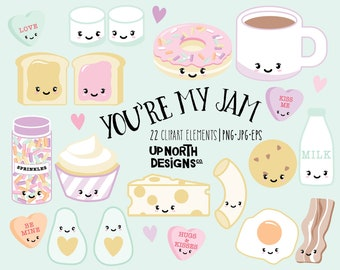 Valentine's day kawaii clipart cookies and milk peanut butter and jelly coffee and donut clipart love clipart candy hearts kawaii avocado