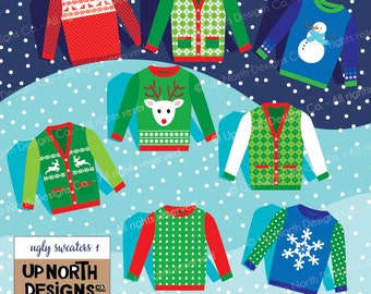 Ugly Sweater Clip Art Illustration Holiday Ugly Sweaters Personal and Commercial Use Holiday Sweaters