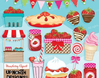 Strawberry Clipart Strawberry Cake clipart Strawberry bunting Strawberry Pie Clipart Strawberry Jam Milkshake Personal and Commercial Use