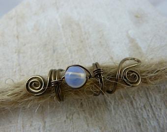 """Dread jewelry, bronze wire, white moonstone, dreadlocks,Dreadbead """"flowerelfe"""""""