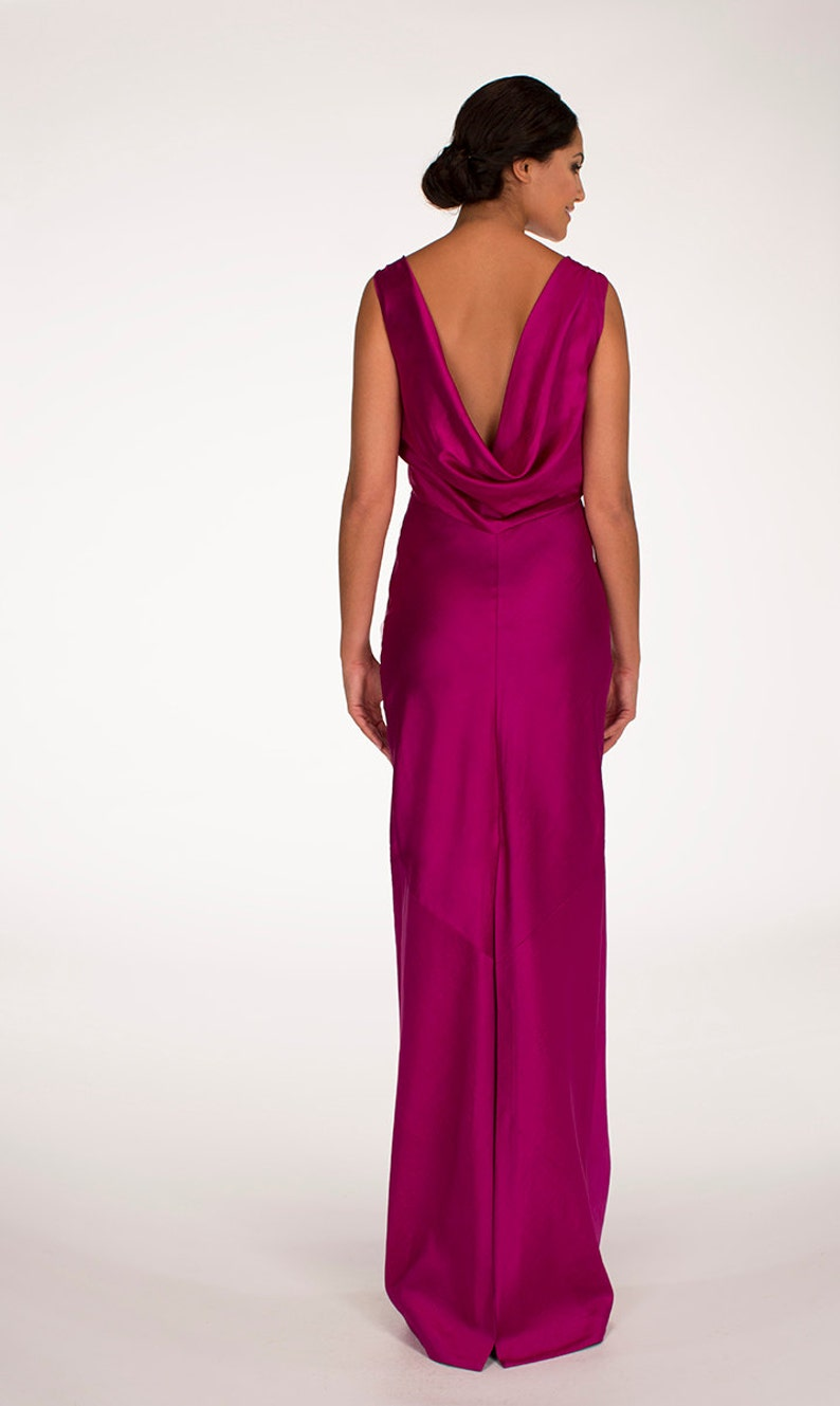 c1c6fa852bff2 Sample SALE! Open back silk maxi dress, Evening dress, Hot pink dress,  Bridesmaids dress - Maxi dress by Hanieh Fashion - Free Shipping!