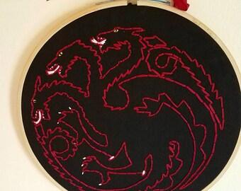 House Targaryen Sigil Hand Embroidery