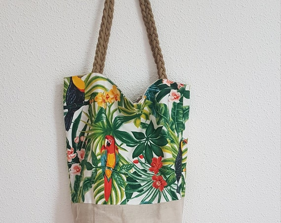 purse / bag of course, jungle and linen fabric