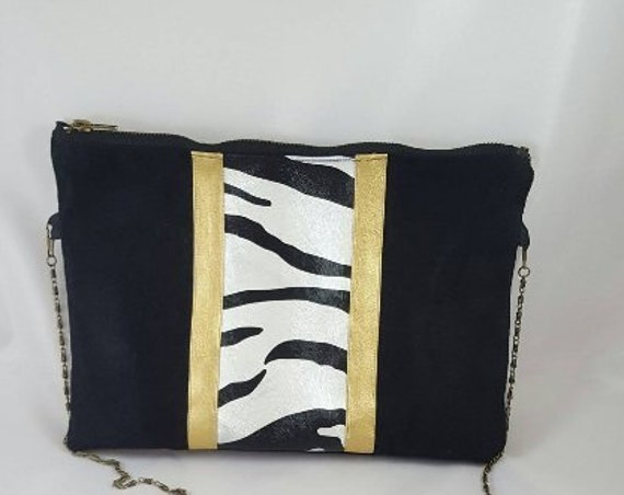 Black Suede and faux leather Zebra purse / evening pouch