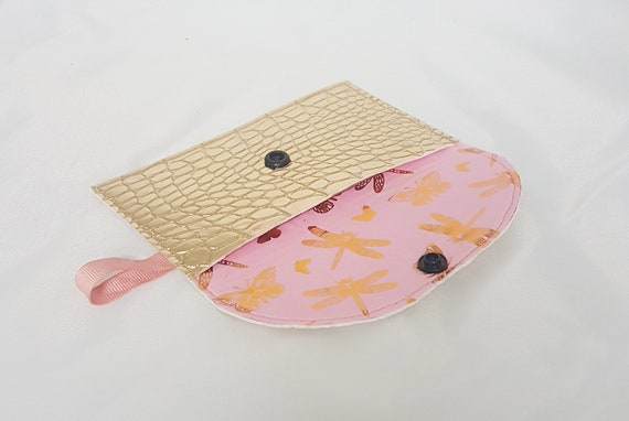 Card holder / wallet, faux gold leather and fabric butterflies design
