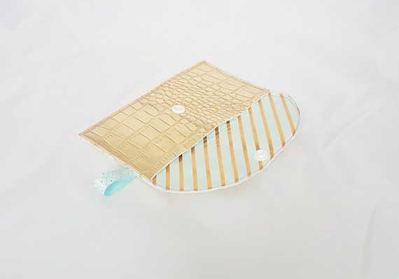 card holder / wallet, faux leather fabric and gold striped