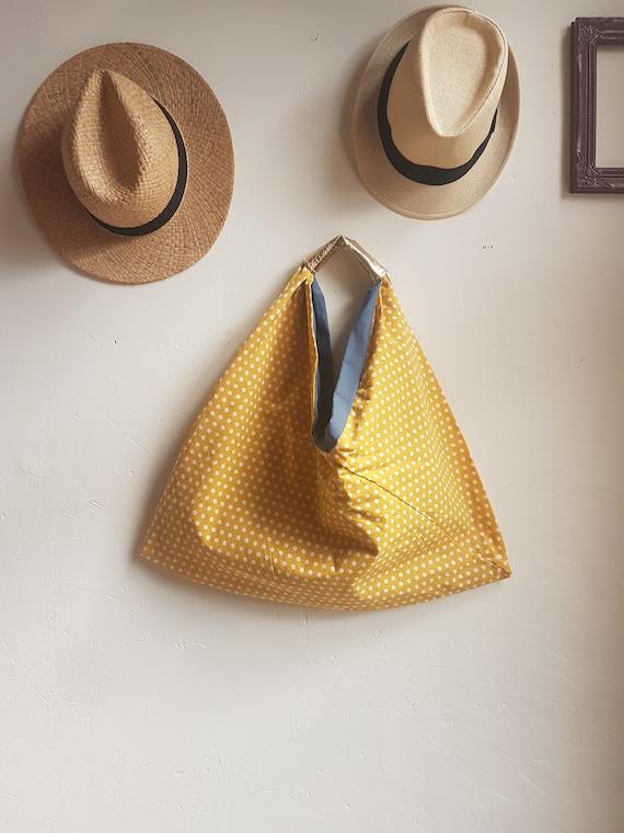 XXL cotton reversible tote bag / polka dots