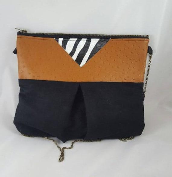 Handbag in imitation leather and a zebra / Black Suede