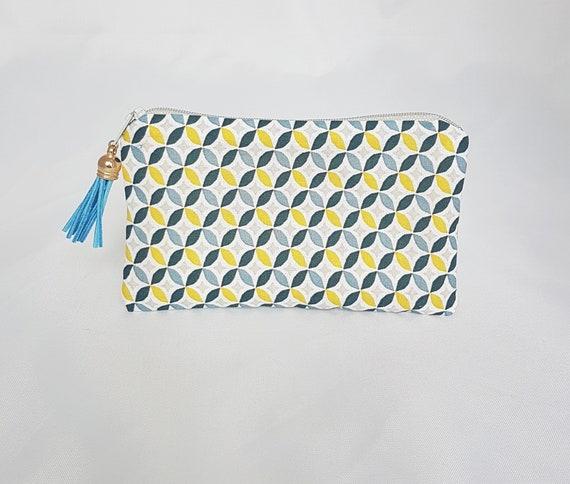coin purse / pouch, geometric fabric