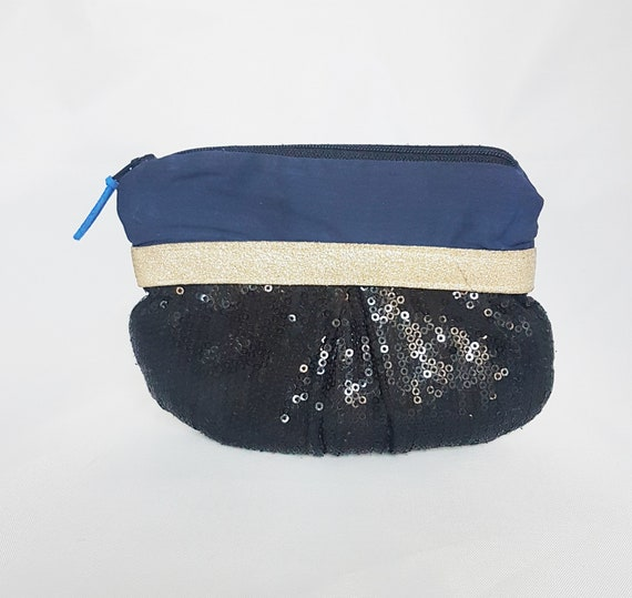 fabric jewelry pouch / sequins and blue cotton
