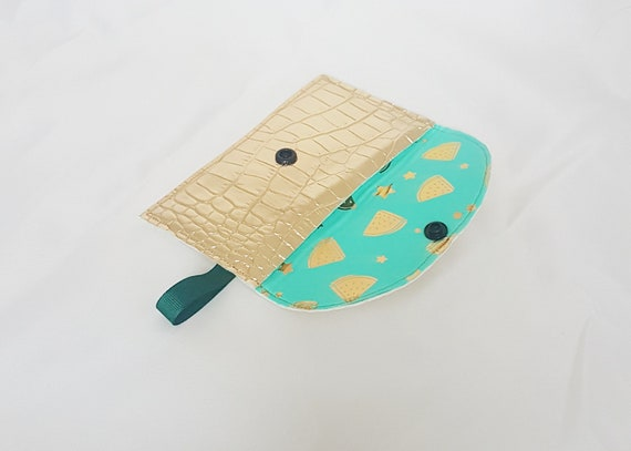Card holder / wallet gold leatherette and watermelon design fabric