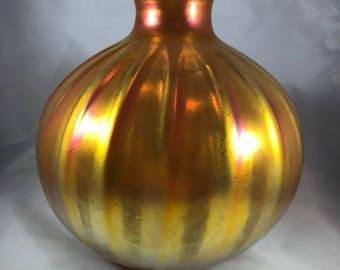 Signed Art Glass Vase Orange Lustre