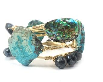Abalone shell bangle, turquoise bangle, labradorite bangle set of 3 bracelets/ shell bracelets/ bourbon and bowetie inspired* beach jewelery