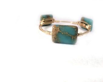 African Opal /Aqua terra jasper bangle bracelet, Bourbon and bowties inspired wire wrapped bangle bracelet, blue bangle
