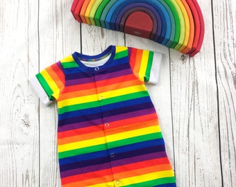 3eec1f05b7d Rainbow Stripe Summer Baby Romper - Toddler Romper - Baby Shower Gift -  Short Baby Romper - Baby All In One - Bodysuit - Rainbow Baby