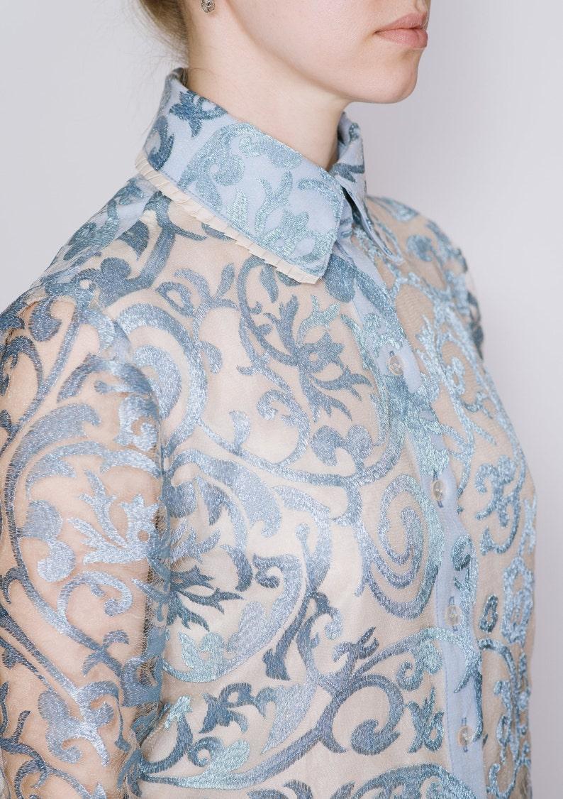 Silk organza lace shirt Light blue blouse Light blue shirt Lace blouse Unique handmade shirt