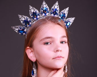 Queen Crown Silver Blue Wedding Birthday Tiara Pearl Gift Jewelry set Earrings Crystal Custom The Statue of Liberty Ideas Queen Princess Her