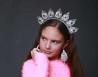 Silver Wedding Crown Birthday Tiara Pearl Gift Jewelry set  Tiara Earrings Crystal Custom The Statue of Liberty Ideas Queen Princess Her